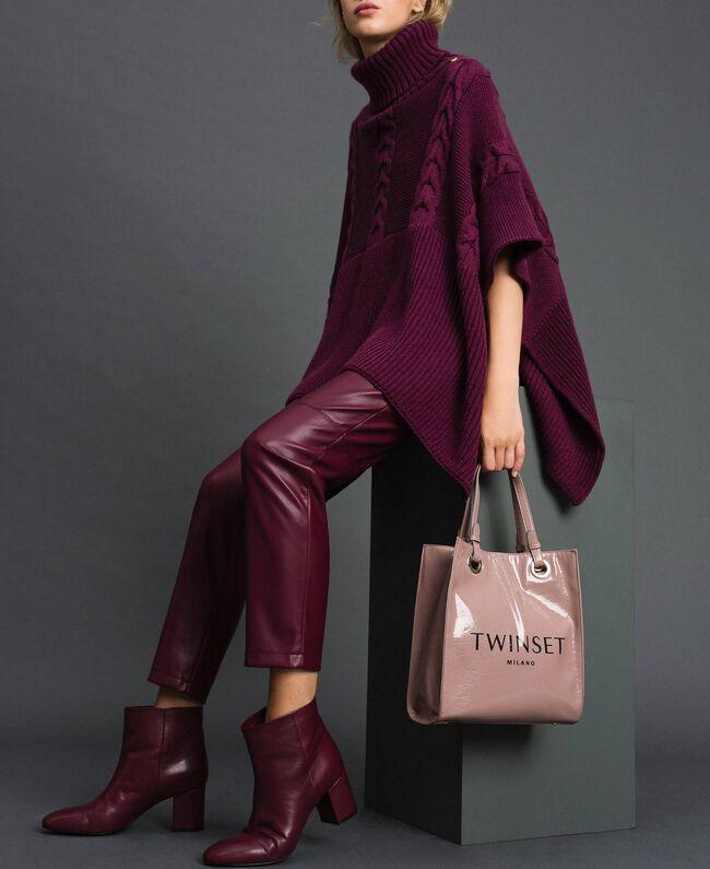 Kleiner Shopper aus glänzendem Lederimitat Puderrosa Frau 192TA7171-0S