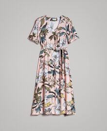 "Floral print crêpe dress ""Soft Pink"" Exotic Print Woman 191ST2232-0S"