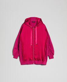 Maxi sweat en satin avec dentelle et franges Rouge Amaranth Femme 192MP2270-0S