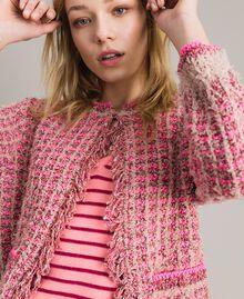 Gilet en fil lurex Bicolore Rose Perle Vrillé Femme 191TP3320-04