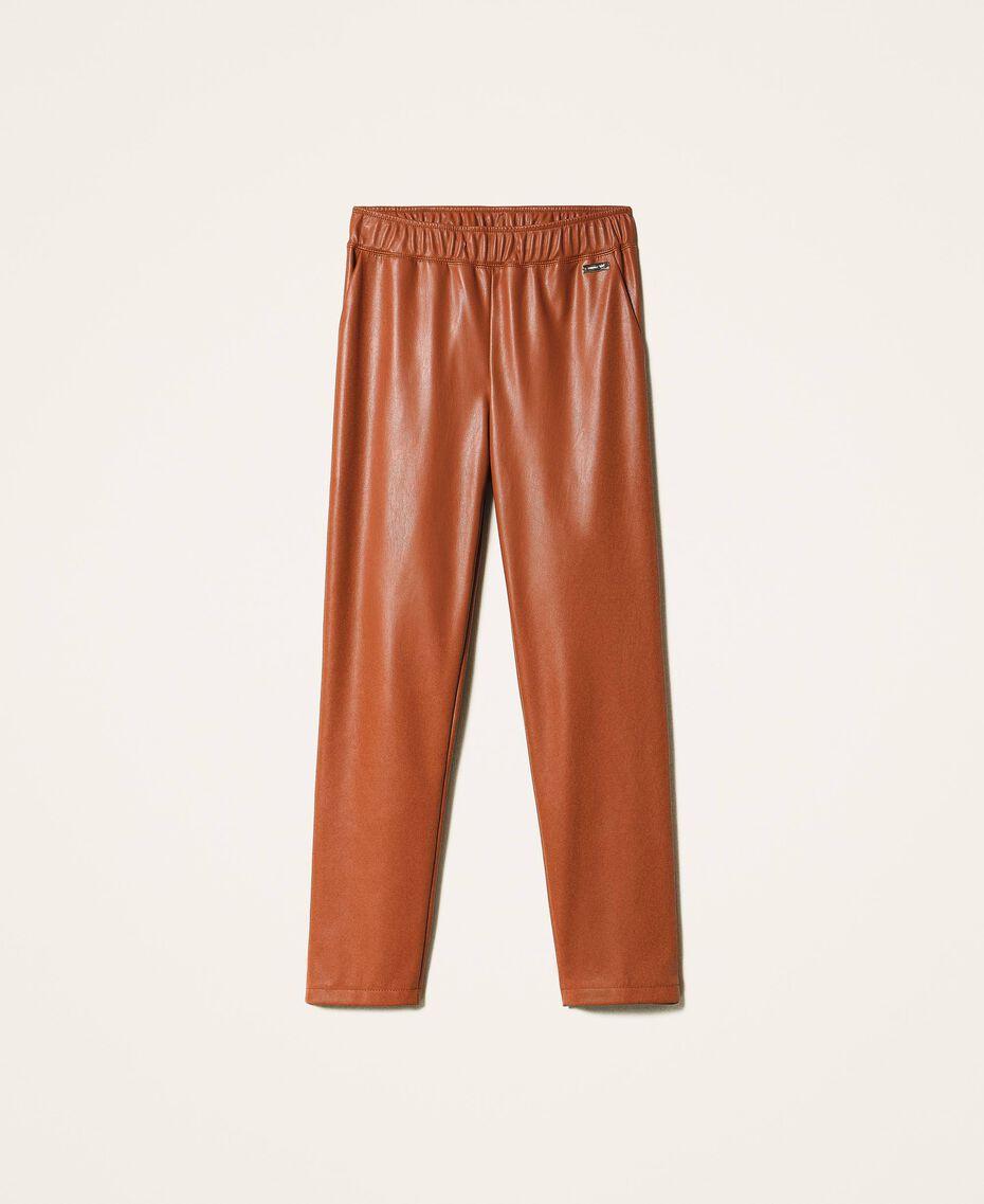 Pantalon cigarette en similicuir Rouge Terre cuite Femme 202LI2GDD-0S