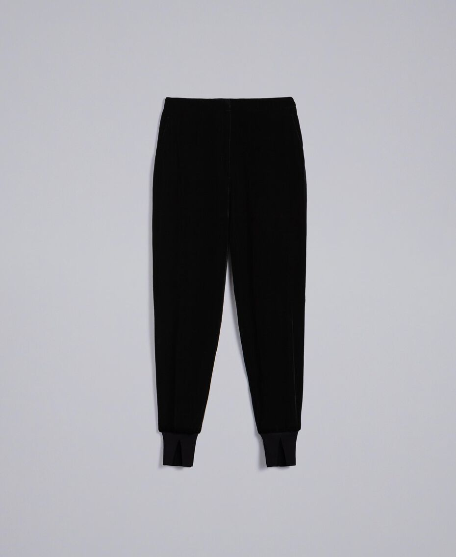 Velvet jogging trousers Black Woman PA823G-0S
