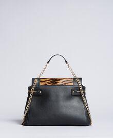 Sac Cécile Deux moyen en cuir et cuir effet poulain Imprimé Tigre Femme OA8TDQ-03