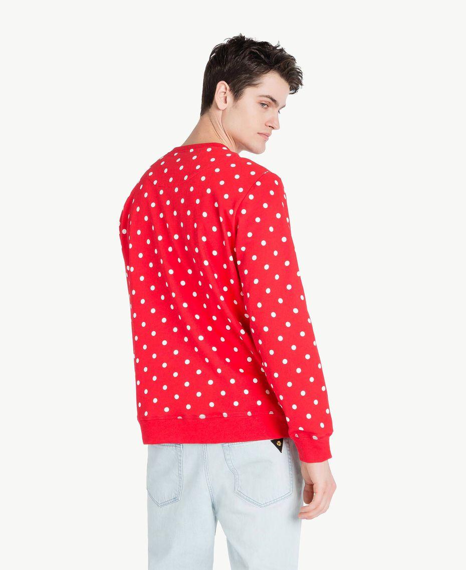 Sweatshirt mit Tupfen Geranienrot Mann US8252-03