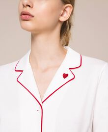 """Pyjamas with contrasting details Two-tone Ivory / """"Pomegranate"""" Red Woman 201LL23DD-04"""