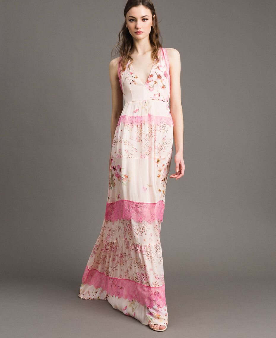 "Floral georgette long dress ""Blossom / Peach Mix"" Pink Print Woman 191TP2713-02"