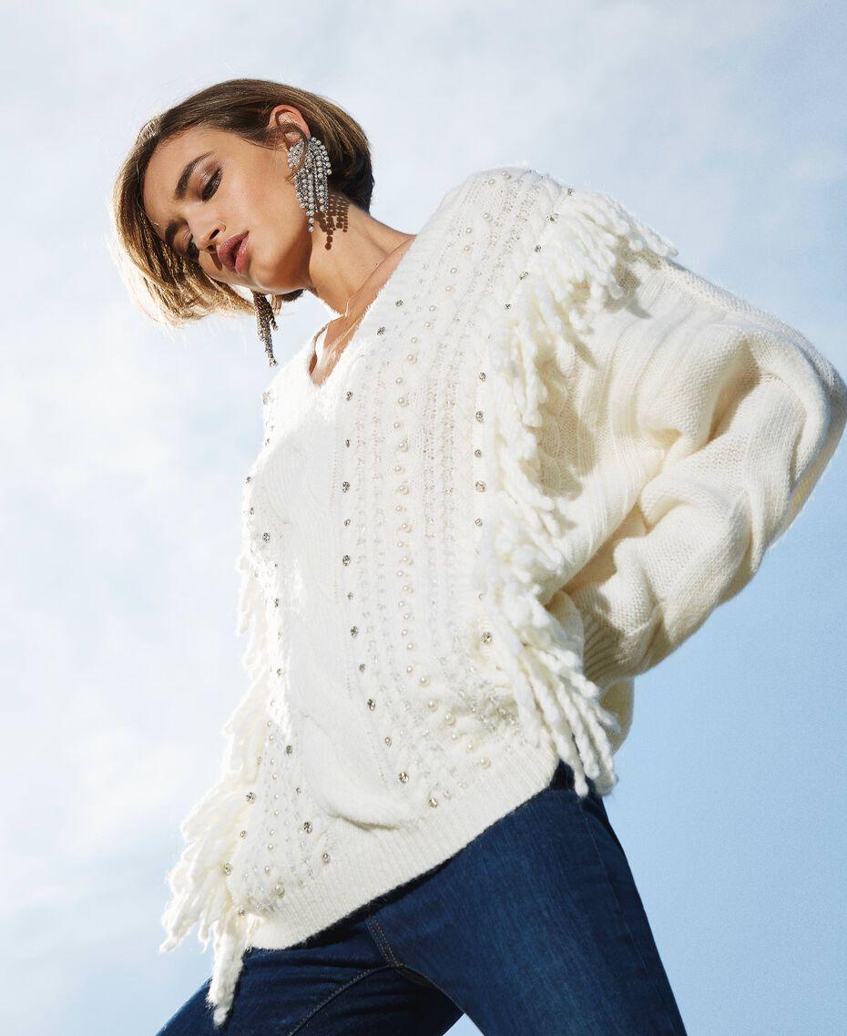 Maxijersey de lana y alpaca con bordado Blanco Nata Mujer 202TT3355-01