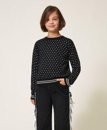 "Printed jumper-cardigan with rhinestones Black / ""Snow"" White Star Print Child 202GJ3640-04"