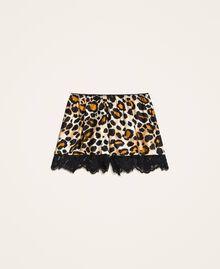 Pantalón corto de raso estampado con encaje Estampado Flor Grande Mujer 202LL2ELL-0S