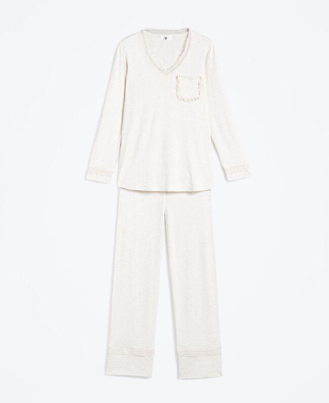 Langer Pyjama aus Viskosejersey mit Stretchanteil Elfenbeinmelange Frau LA8BGG-01
