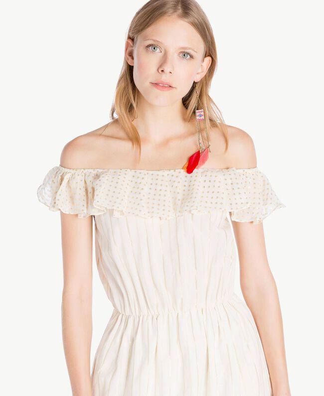 Kleid aus Jacquard Zweifarbig Meliertes Mittelgrau / Hellgold Frau TS8264-04