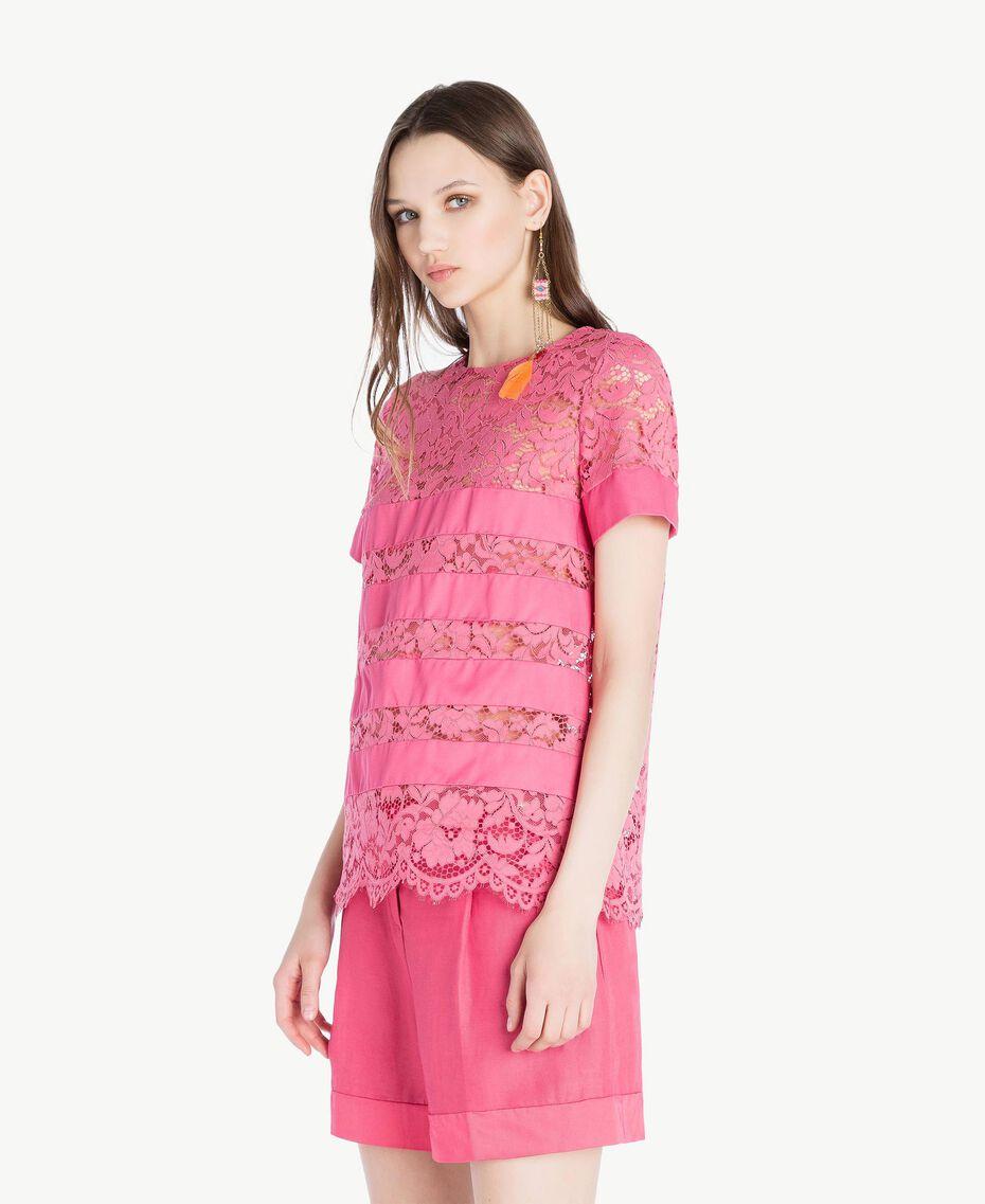 T-shirt dentelle Pink Provocateur Femme TS828Q-02