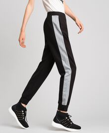 Jogging trousers with contrasting bands Black/ Melange Gray Woman 192LI2HDD-04