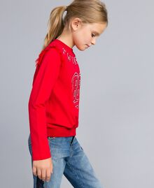 Jersey sweatshirt with pearls and tulle Poppy Red Child GA82U2-02