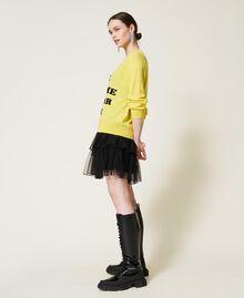 Maxi pull et robe nuisette en tulle Bicolore Jaune Sunny / Noir Femme 212AP3120-02