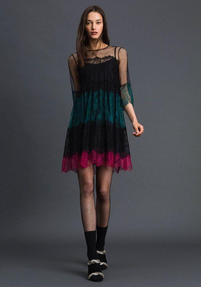 Vestido de encaje color block