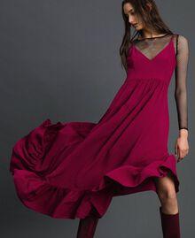 Asymmetric crêpe de Chine dress Beet Red Woman 192TP2384-05