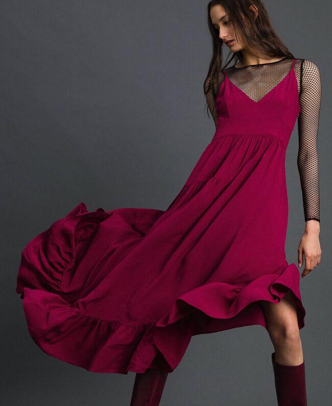 Asymmetrisches Kleid aus Crêpe de Chine aus Seidenmischung Rote-Bete-Rot Frau 192TP2384-05