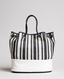 Plaited faux leather bucket bag Indigo Woman 191TO8131-04