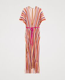 "Lurex striped knit poncho ""Psychedelic Pink"" Fuchsia Multicolour Striping Woman 191LB4AMM-0S"