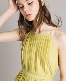"Pleated lurex dress ""Lemon Juice"" Yellow Woman 191LB23FF-04"