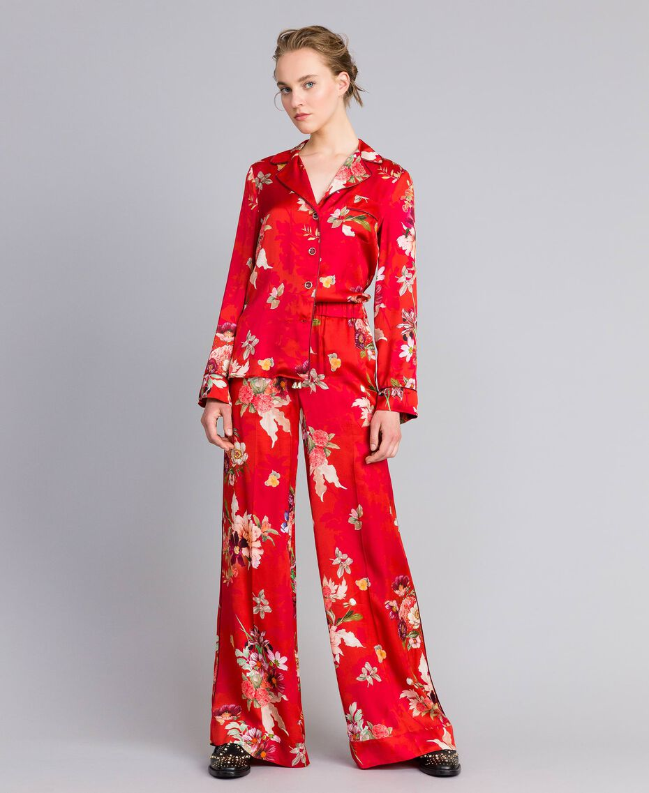 Pantalon palazzo en satin floral Imprimé Jardin Rouge Femme PA829Q-0T