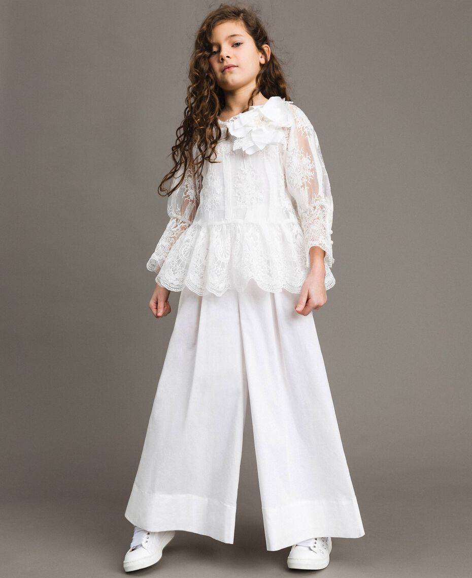 Poplin jumpsuit and organza blouse White Child 191GJ2QB0-02