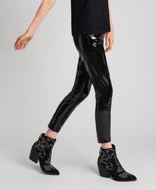 Leggings in similpelle effetto vernice Nero Donna 192MT2090-04