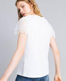 T-Shirt aus Baumwolle mit Spitze Weiß Frau TA8281-01