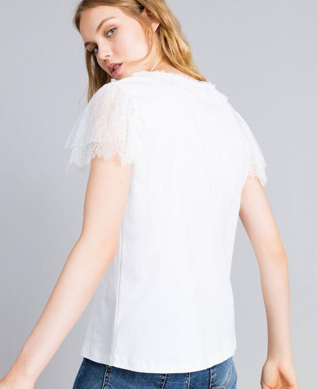 T-shirt in cotone con pizzo Bianco Donna TA8281-01