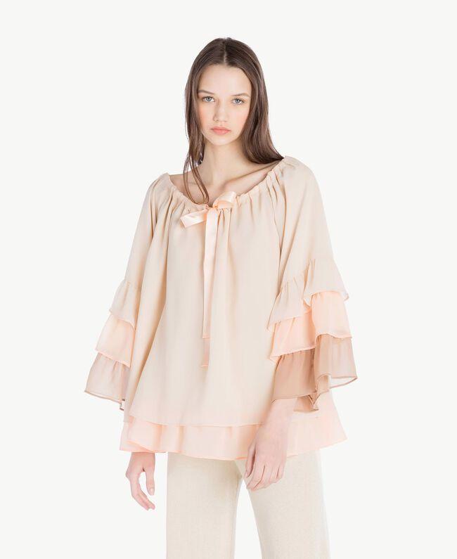 "Flounced blouse Multicolour ""Rope"" Beige Woman SS82DB-01"