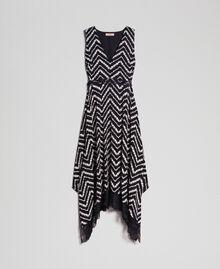 Robe longue avec imprimé floral à chevrons Imprimé Chevrons Noir / Blanc Neige Femme 192TP2526-0S