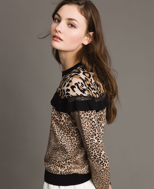 Animal print top with lace Mixed Animal Print Woman 191TP3413-01