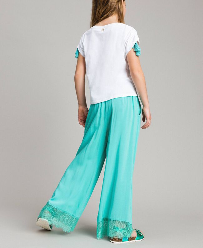 """Flowing fabric trousers with lace """"Island Paradise"""" Light Blue Child 191GJ2430-04"""
