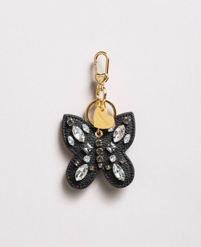 Schmetterlings-Schlüsselring mit Steinen Schwarz Frau 191TA7271-01