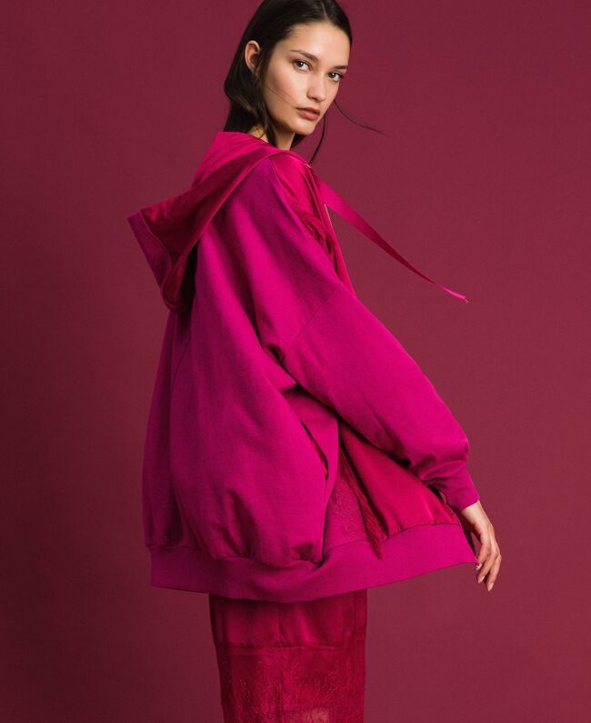 Satin maxi sweatshirt with lace and fringes Red Amaranth Woman 192MP2270-01
