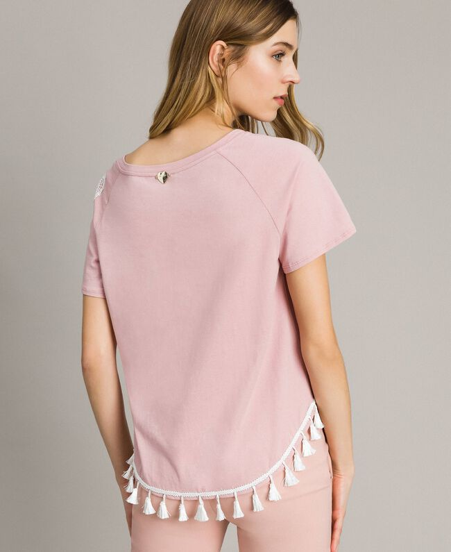 "T-shirt with mini tassels ""Pink Bouquet"" Woman 191LB2CCC-04"
