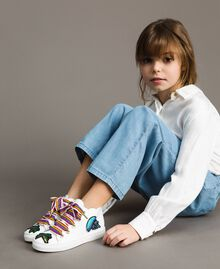 Leather sneakers with patch White Child 191GCJ146-0S