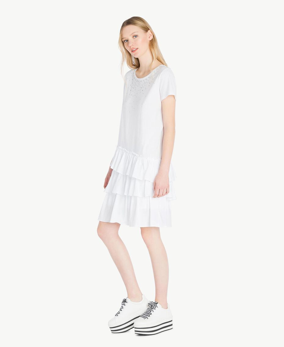 Kleid mit Stickerei Weiß Frau YS82D4-02