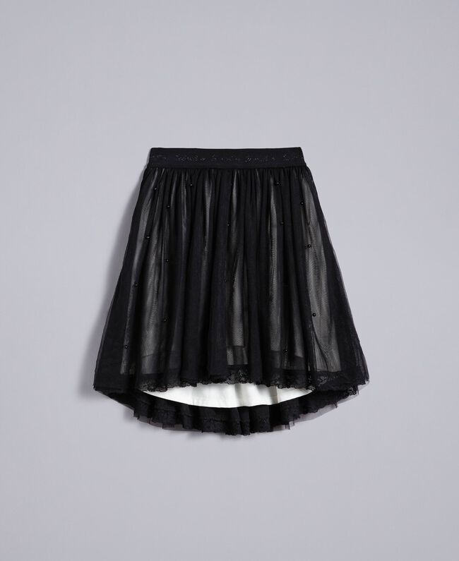 Gonna in tulle con perle Bicolor Nero / Off White Bambina GA82JE-01