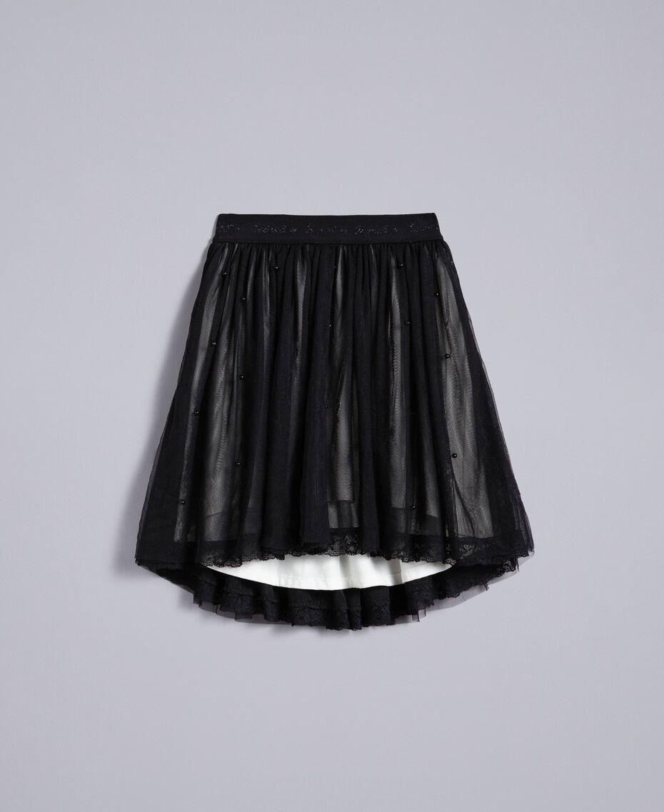 Jupe en tulle avec perles Bicolore Noir / Blanc Cassé Enfant GA82JE-01