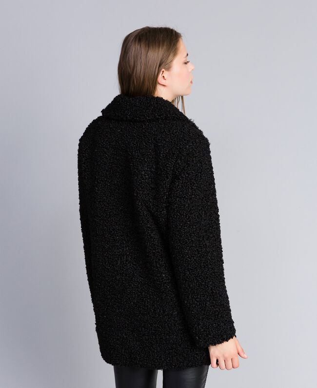 Mantel aus Lammfellimitat Schwarz Frau JA82KN-03