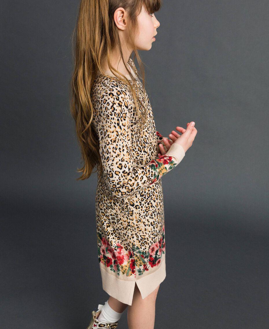 Minivestido con animal print y flores Estampado Leopardo / Flor Niño 192GJ3180-02