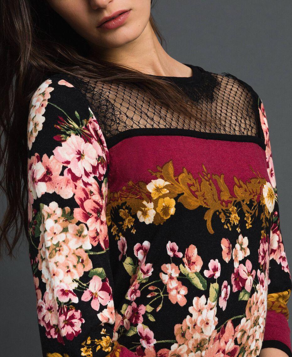 Kleid mit floralem Foulardprint und Spitze Foulardprint Frau 192TP3361-05