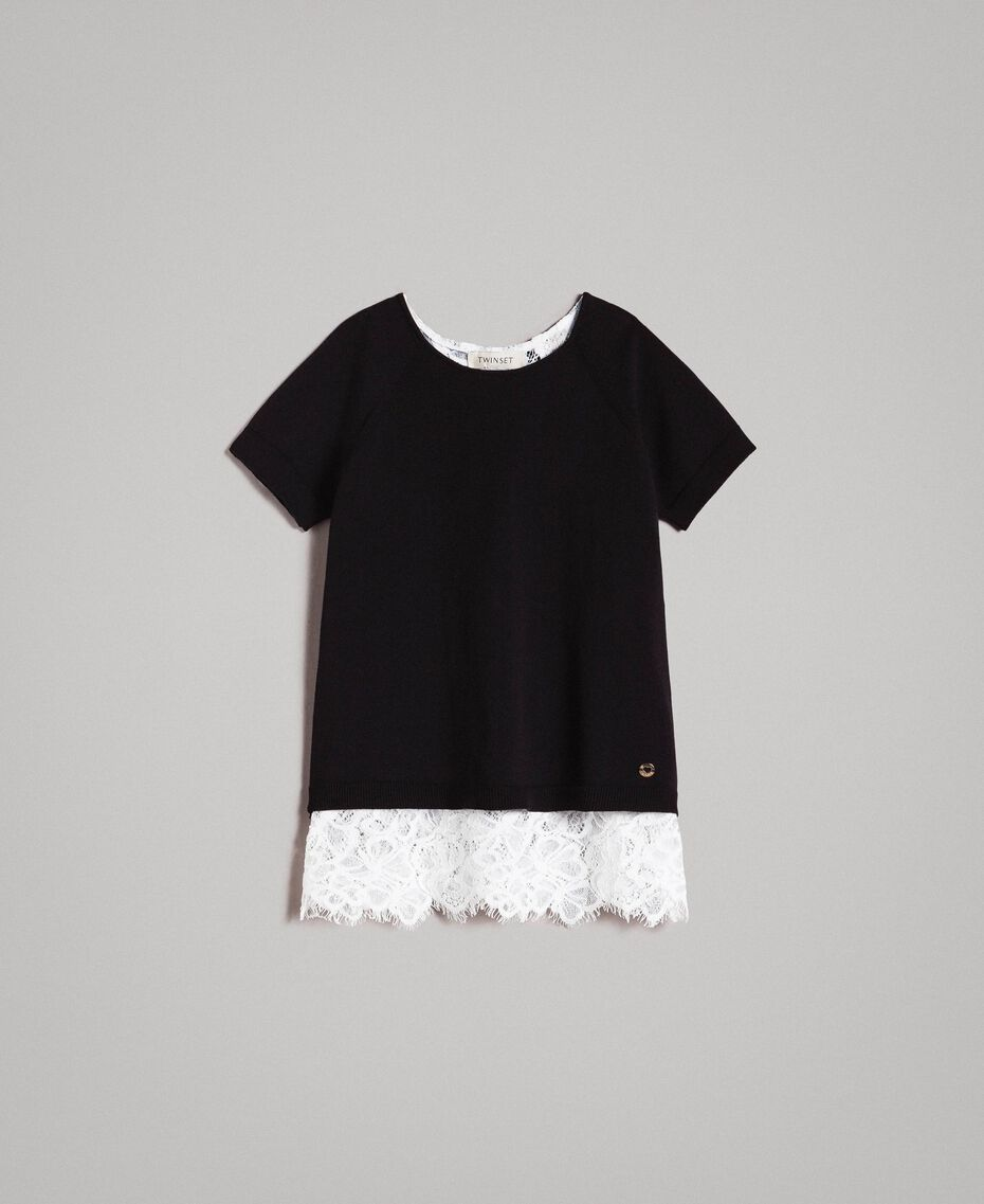 Jersey de algodón y top de encaje Bicolor Negro / Blanco Roto Niño 191GJ3020-01