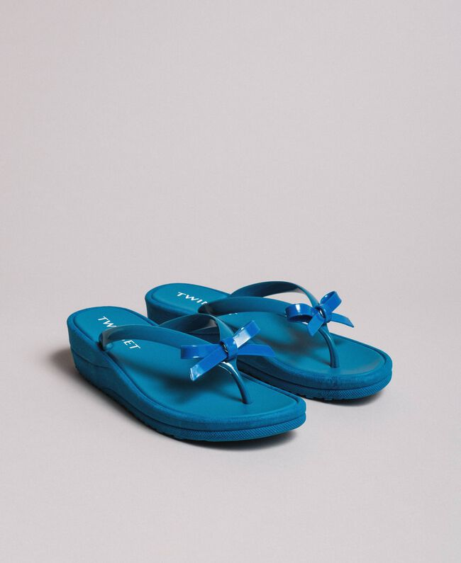 Wedge flip flops Antigua Blue Woman 191LM4ZLL-01