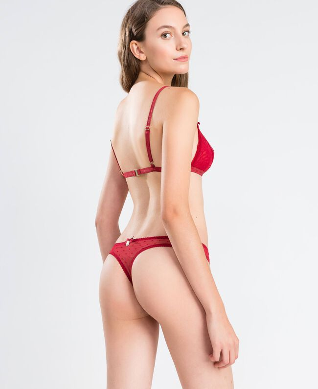 """Triangolo in tulle a pois flock Rosso """"Rougeatre"""" Donna LA8K00-03"""