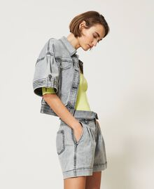 Short taille haute en jean Denim Gris Femme 211MT2567-03
