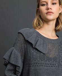 Robe ajourée en laine et cachemire Gris Mélangé Femme 192TP3200-04