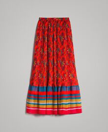 Floral print chiffon long skirt Multicolour Chiné / Grenadine Striping Woman 191TT2362-0S